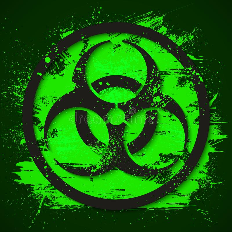 Free Biohazard Dangerous Sign On Green Slime Background. Toxic Waste Vector Illustration Royalty Free Stock Images - 139087869