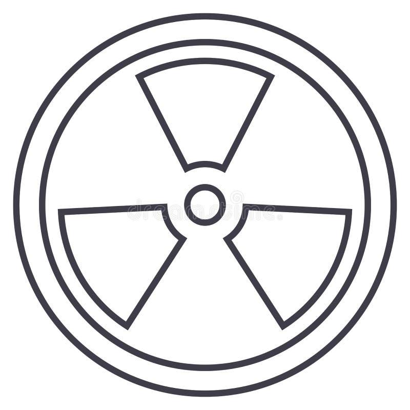 Biohazard farlig utstrålningsvektorlinje symbol, tecken, illustration på bakgrund, redigerbara slaglängder royaltyfri illustrationer