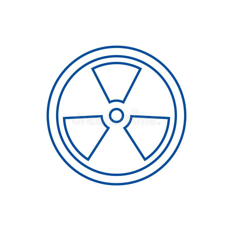 Biohazard, línea peligrosa concepto de la radiación del icono Biohazard, símbolo plano del vector de la radiación peligrosa, mues stock de ilustración
