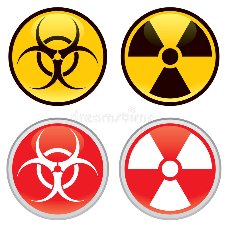 Biohazard and Radioactive Warning Signs royalty free illustration