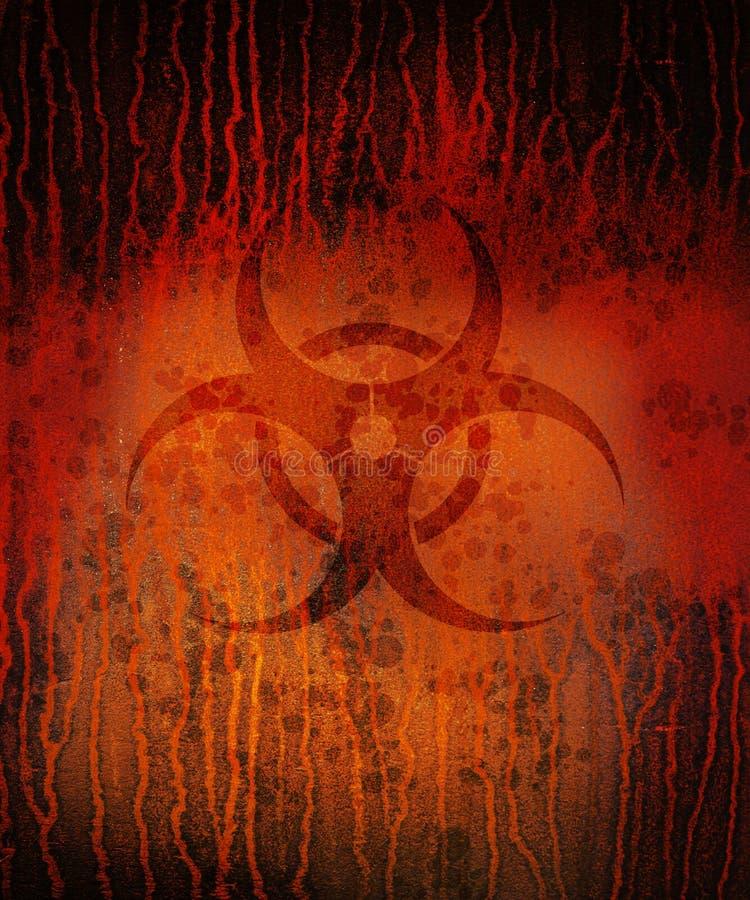 Biohazard roestig vierkant stock illustratie