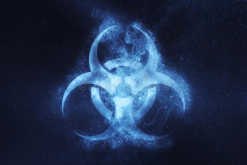 Biohazard symbol. Biohazard sign. Abstract night sky background stock images