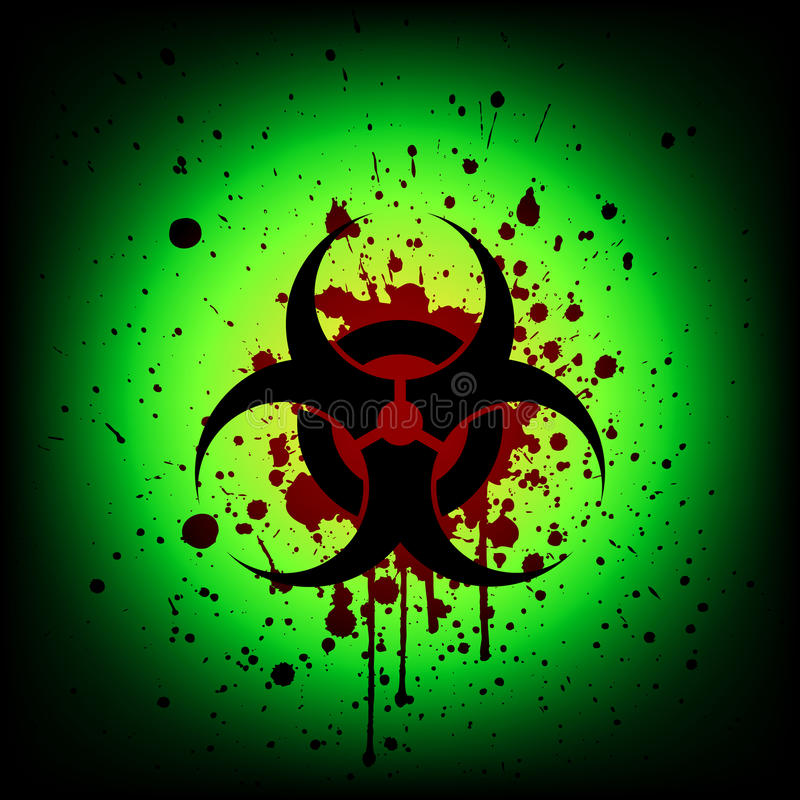 Biohazard Symbol With Blood Splash Illustration Stock Vector
