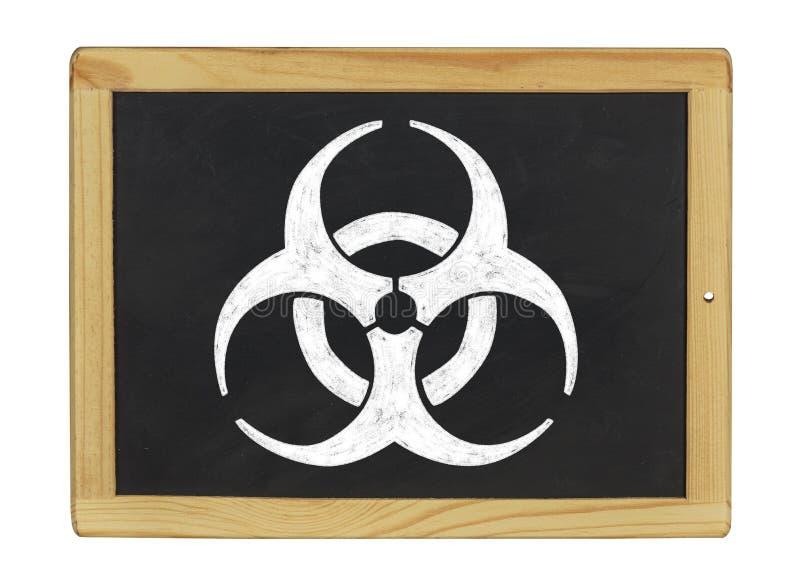 Biohazard symbol on a chalkboard stock photo