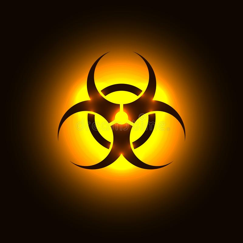 Biohazard symbol on orange glowing background stock illustration