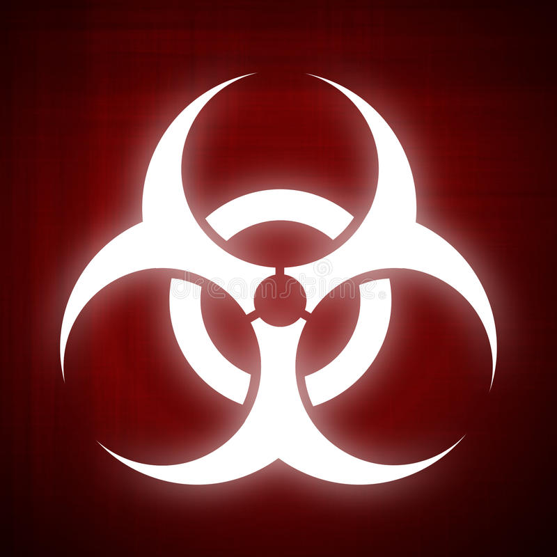 Cool Background For Health: Biohazard Symbol On Red Background Stock Illustration