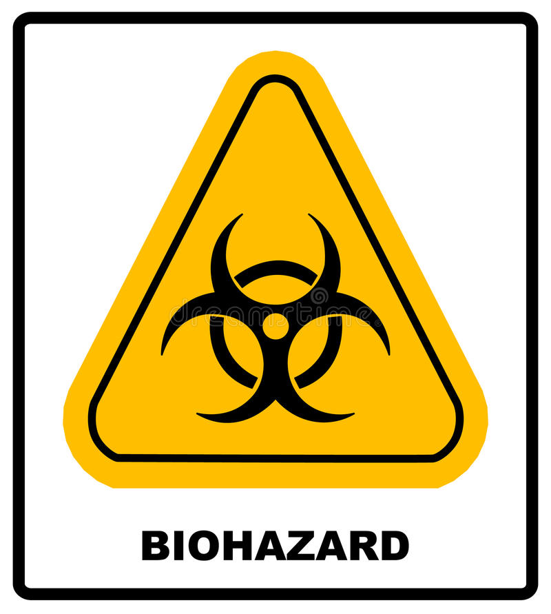 Biohazard symbol sign of biological threat alert, black yellow triangle signage text, isolated stock illustration