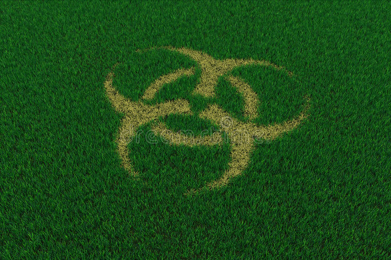Biohazard symbol from thatch on green grass royalty free stock photos