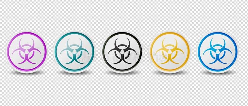Biohazard symbol Zapina Wektorowe ikony Odizolowywać Na Przejrzystym tle - Różni kolory - royalty ilustracja