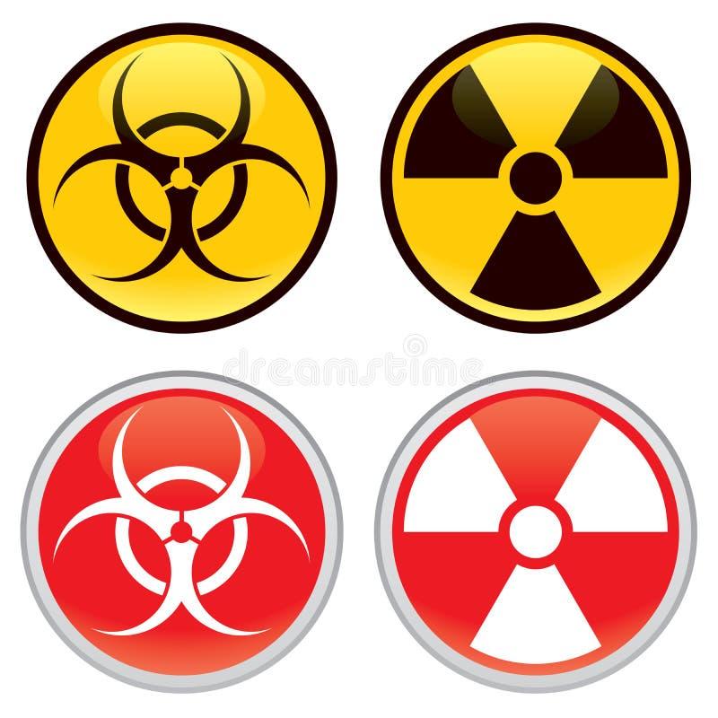 Biohazard und radioaktive Warnzeichen lizenzfreie abbildung