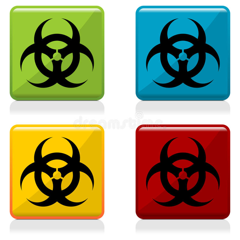 biohazarden buttons tecknet stock illustrationer