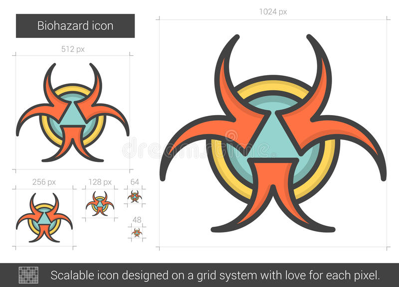 Biohazardlinje symbol royaltyfri illustrationer
