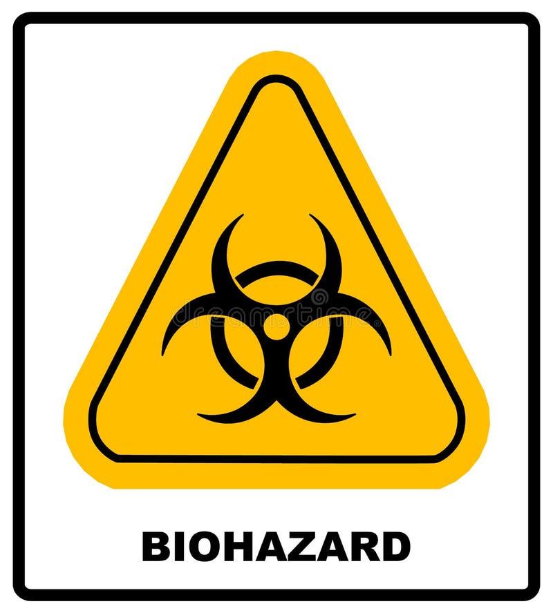Biohazardsymboltecken av den biologiska hotvarningen, för triangelsignage för svart som gul text isoleras stock illustrationer