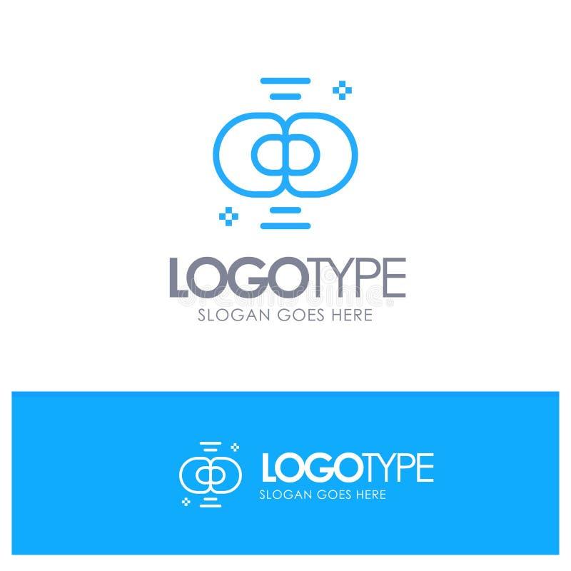 Biokemi biologi, cell, kemi, blå översikt Logo Place för uppdelning för Tagline vektor illustrationer