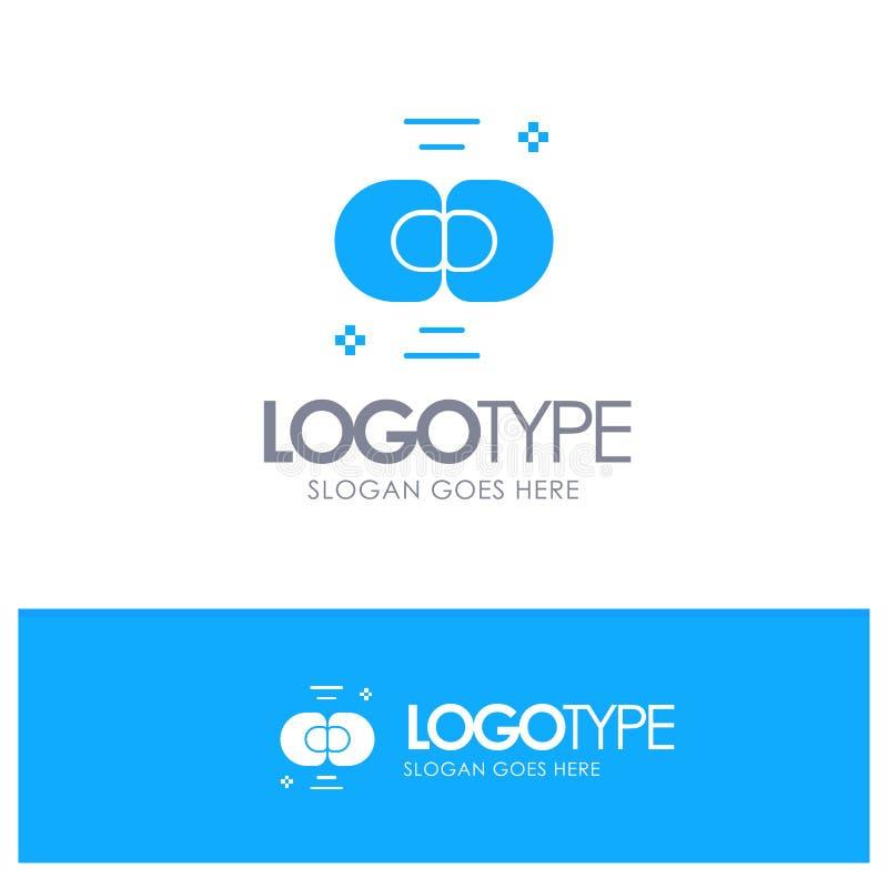 Biokemi biologi, cell, kemi, blå fast logo för uppdelning med stället för tagline royaltyfri illustrationer