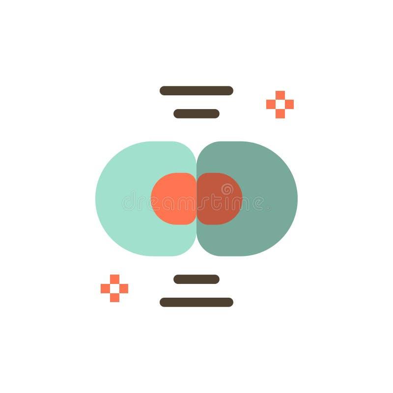 Biokemi biologi, cell, kemi, plan färgsymbol för uppdelning Mall för vektorsymbolsbaner royaltyfri illustrationer