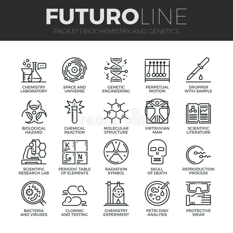 Biokemi- och genetikFuturo linje symbolsuppsättning royaltyfri illustrationer