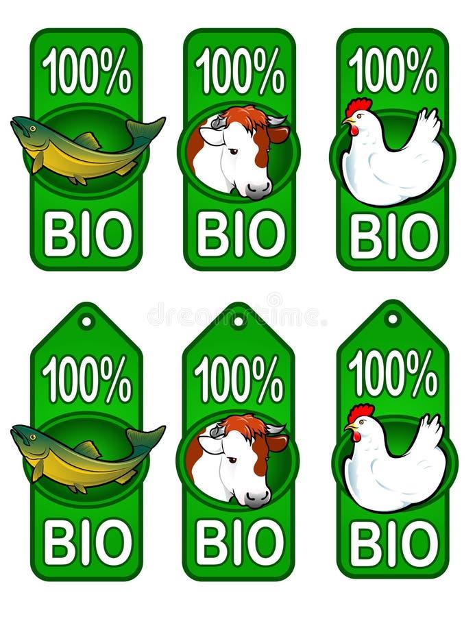 Biokennsätze/Fische, Rindfleisch, Huhn vektor abbildung