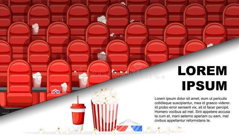 Biokorridor med röda bekväma fåtöljer Drinkar och popcorn, exponeringsglas f?r film Plan vektorillustration med st?llet f?r text royaltyfri illustrationer