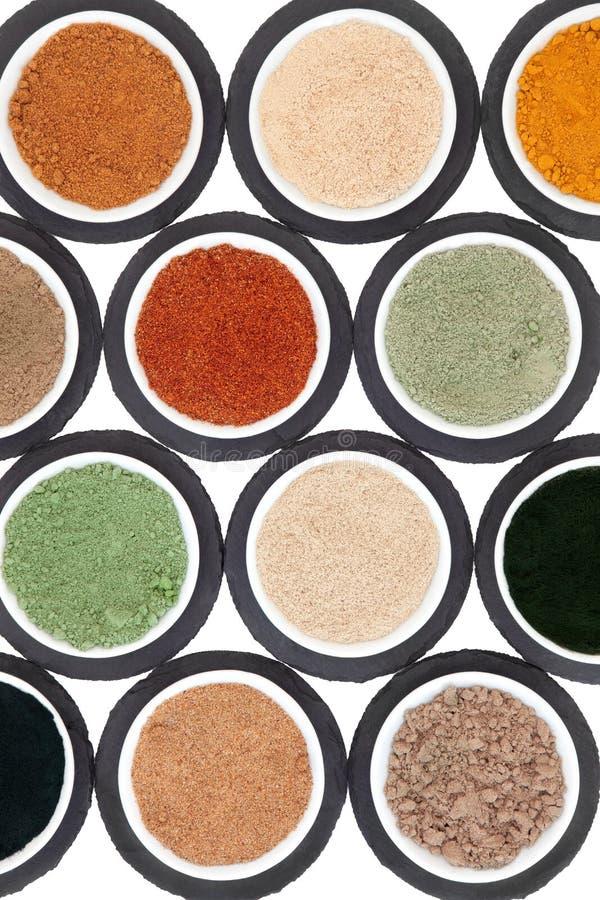 Biokost-Pulver-Auswahl lizenzfreie stockfotografie