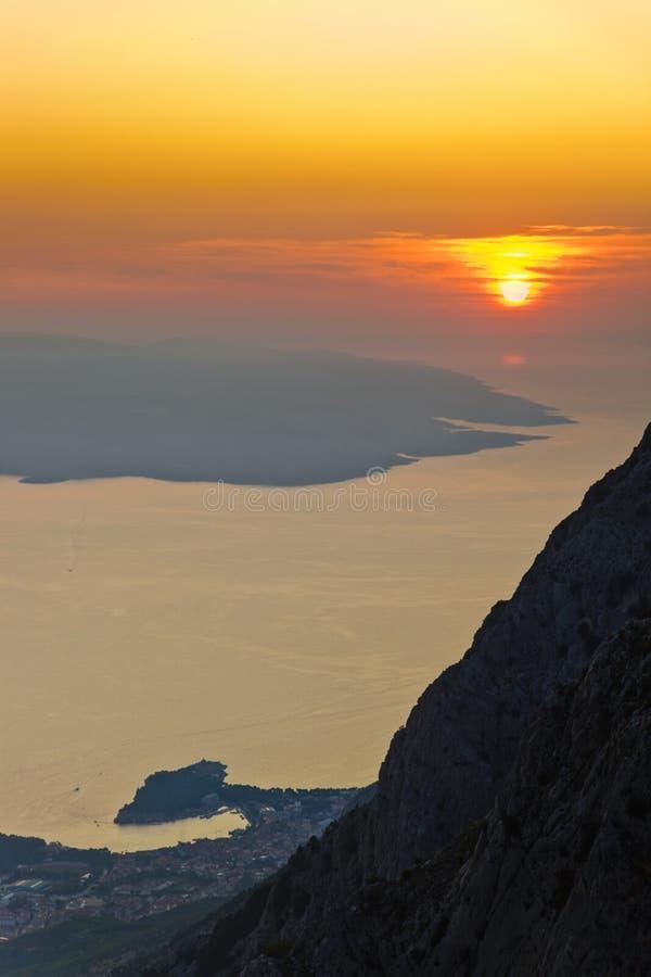 biokovo brac Croatia wyspy zmierzch obrazy stock