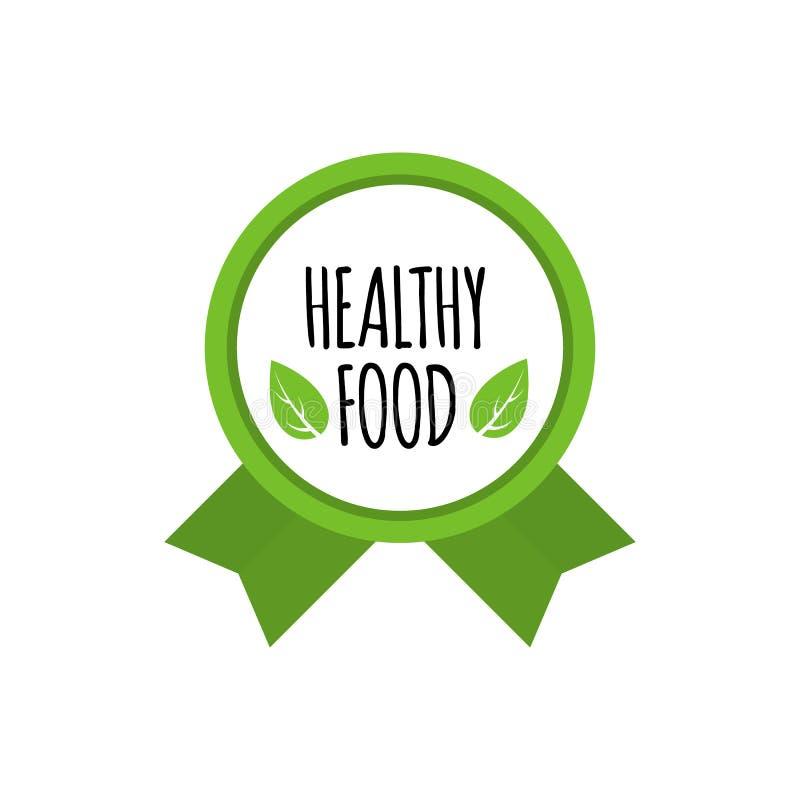 Biolebensmittelausweis Vektorlogo des strengen Vegetariers Gesundes Lebensmitteldesign Auch im corel abgehobenen Betrag lizenzfreie abbildung