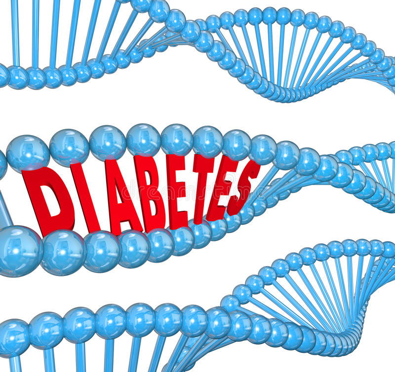Biología hereditaria de la enfermedad de sangre del filamento de la DNA de la palabra de la diabetes ilustración del vector