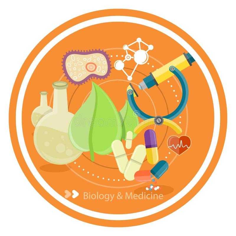 Biologi och medicin royaltyfri illustrationer