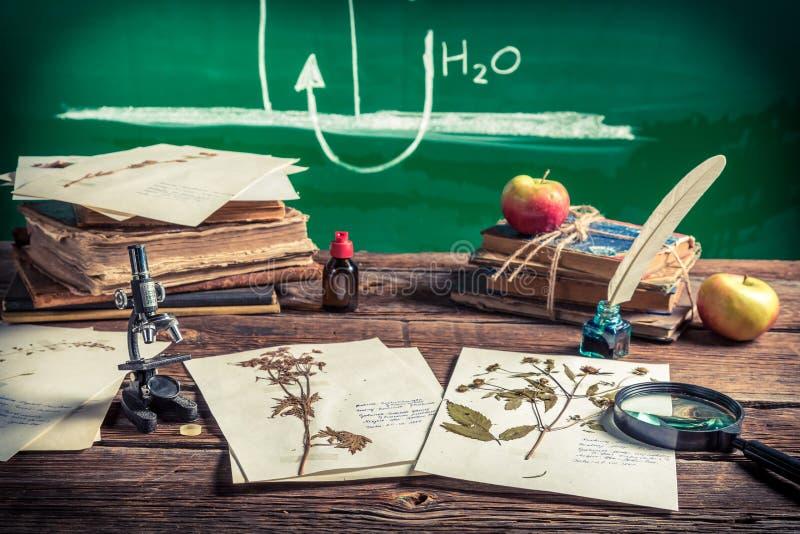 Biologia d'istruzione alla scuola d'annata fotografia stock libera da diritti