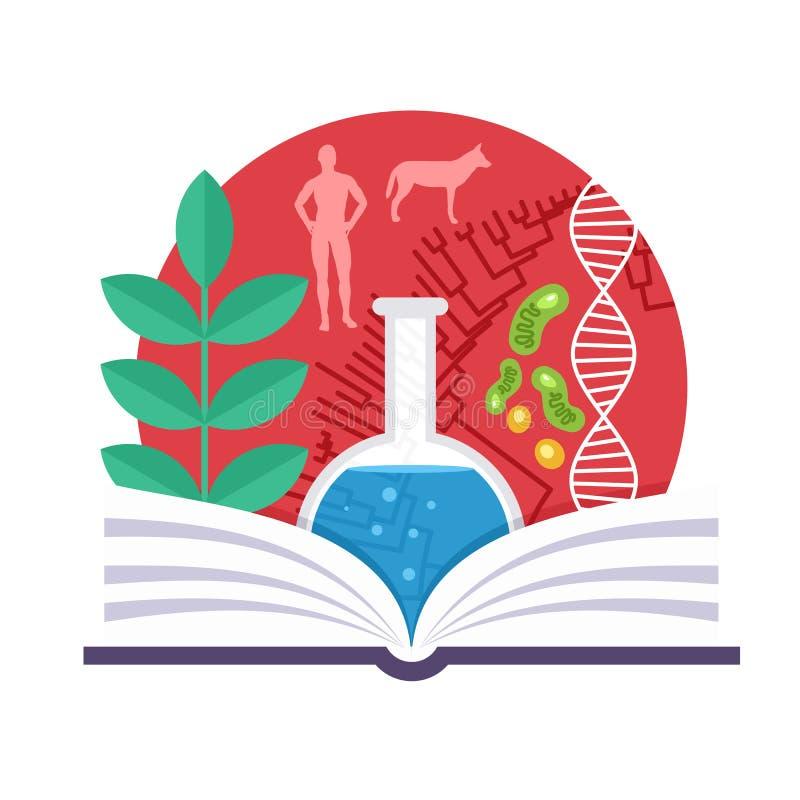 Biologia emblemat ilustracja wektor