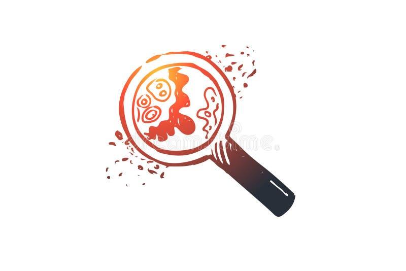 Biologia, nauka, komórka, bakterie, powiększa - szklany pojęcie Ręka rysujący odosobniony wektor royalty ilustracja
