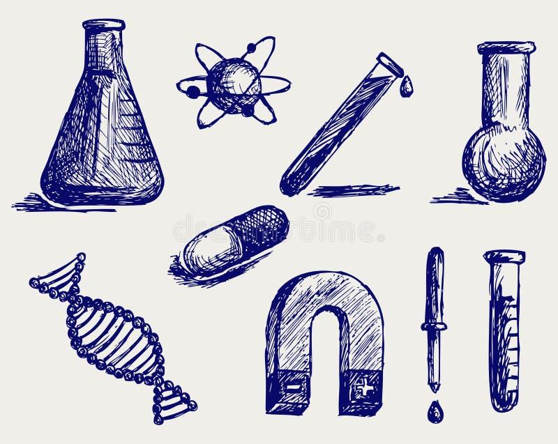 Biologia, química e física ilustração do vetor