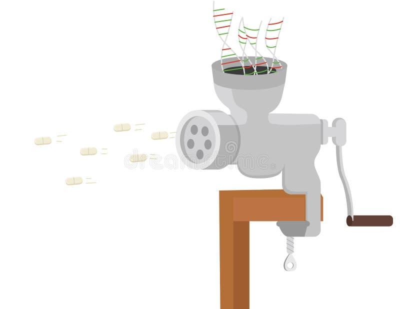 Biologic drugs development conceptual illustration. Convert DNA into pills by meat grinder royalty free illustration