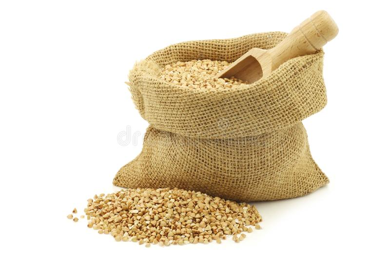 Biologically grown organic buckwheat in a burlap bag with a wooden scoop. On a white background stock images