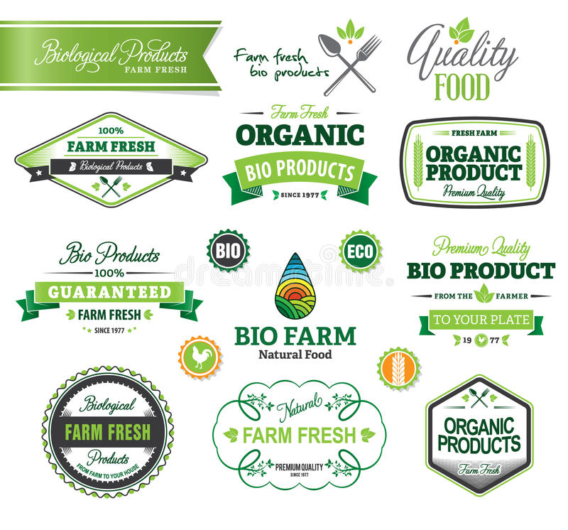 Biologiczni i Naturalni Rolni Świezi grzebienie, ikony ilustracji