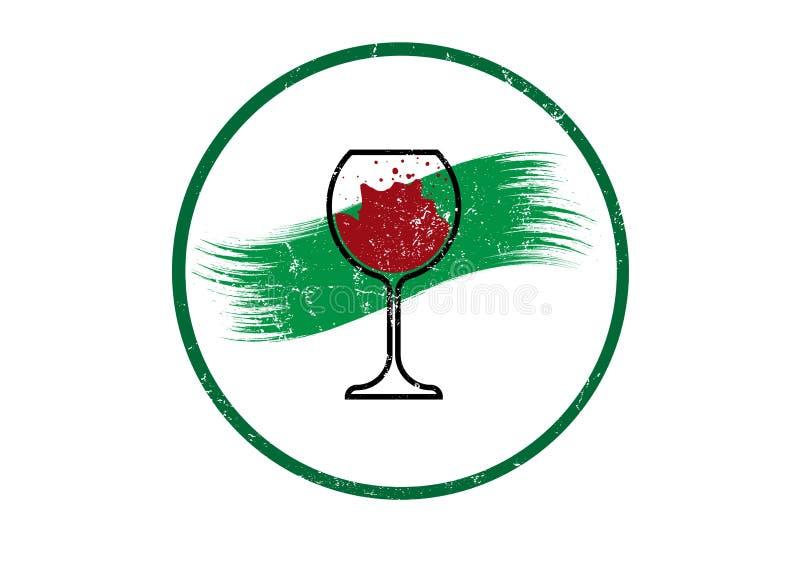 Biologiczny wina pojęcie, Organicznie czerwonego wina szkła ikona, biodynamic kultywacja, Wineglass logo, Glassware rocznika roun royalty ilustracja