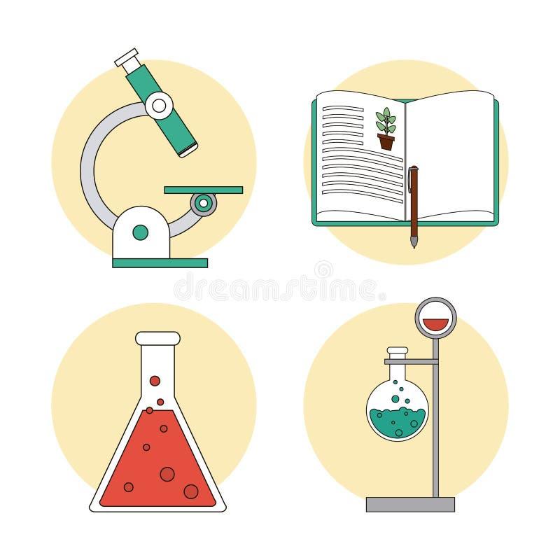 Biologidesign Labbsymbol Plan illustration, vektor stock illustrationer