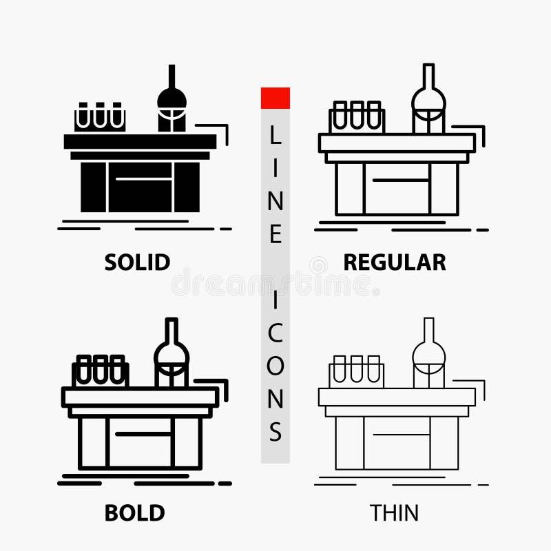 Biologie, Chemie, Labor, Labor, Produktion Ikone in der dünnen, regelmäßigen, mutigen Linie und in der Glyph-Art Auch im corel ab stock abbildung
