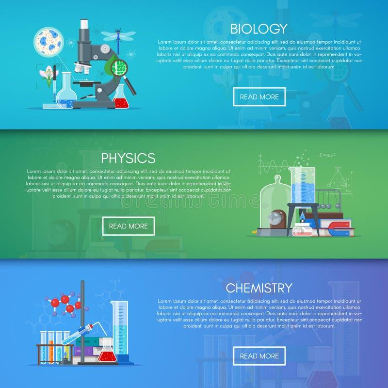 Biologie-, Chemie- und Physikvektorfahnen Wissenschaftsbildungs-Konzeptplakat im flachen Artdesign lizenzfreie abbildung