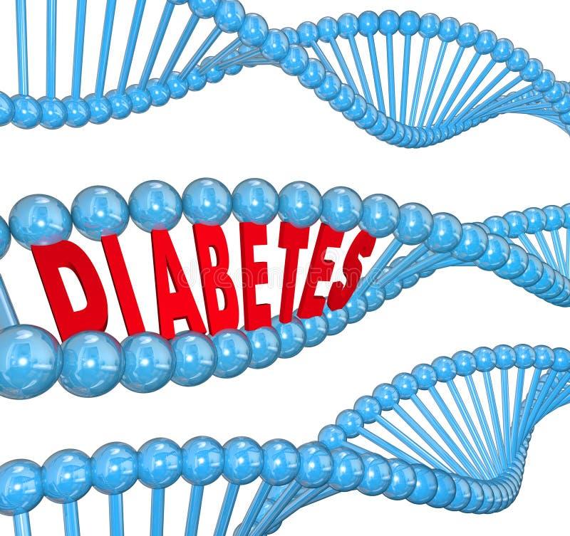 Biologie héréditaire d'hémopathie de brin d'ADN de Word de diabète illustration de vecteur