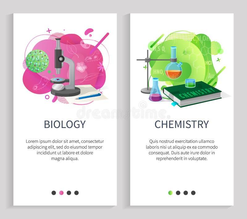 Biologie-und Chemie-Schulfach-Universität vektor abbildung