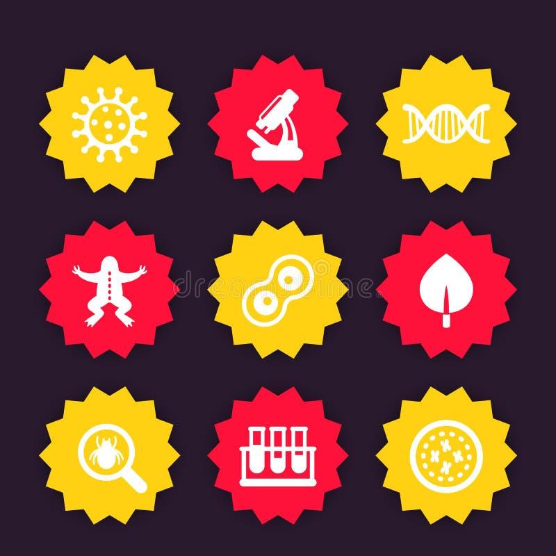 Download Biologieikonen, Mikroskop, Testrohre, Mikroben Vektor Abbildung - Illustration von hochschule, mikroorganismus: 96931596