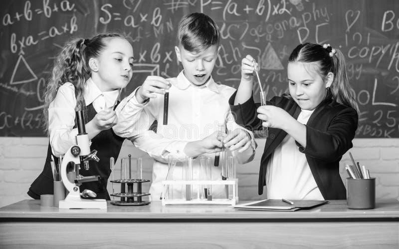 Biologieonderwijs Kleine jonge geitjes die chemie in laboratorium leren studenten die biologieexperimenten met microscoop in labo stock foto