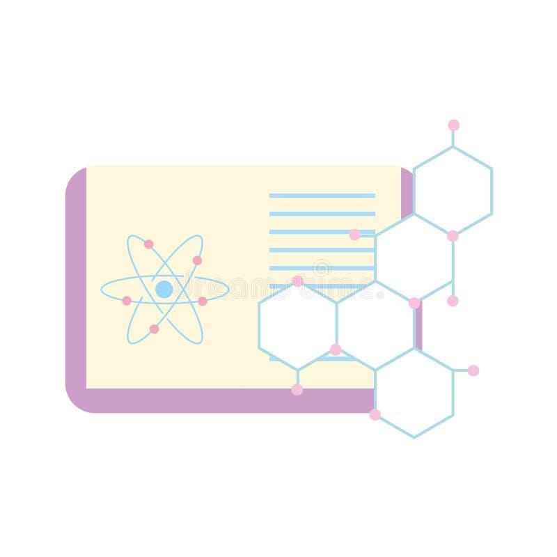 Biologii nauki nauki książki atomu molekuła royalty ilustracja