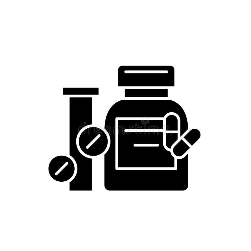 Biologisch actief additieven zwart pictogram, vectorteken op geïsoleerde achtergrond Biologisch actief additievenconcept vector illustratie