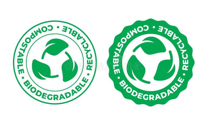 Biologisch afbreekbaar, composteerbaar rekupereerbaar vectorpictogram Het bio rekupereerbare embleem van de het bladzegel van het stock illustratie