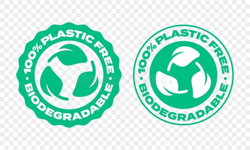 Biologisch afbreekbaar plastic pakketetiket Het vector composteerbare en bio rekupereerbare embleem van het eco vriendschappelijk stock illustratie
