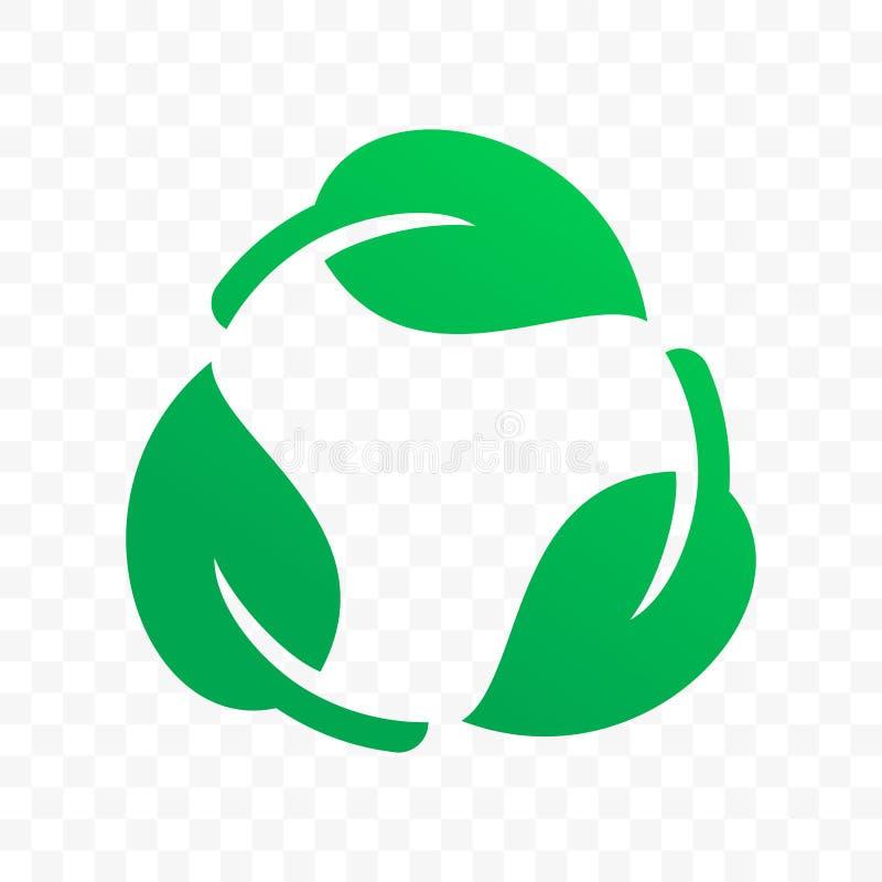 Biologisch afbreekbaar rekupereerbaar plastic vrij etiket vectorpictogram Zegel van het Eco de veilige bio rekupereerbare en chem vector illustratie