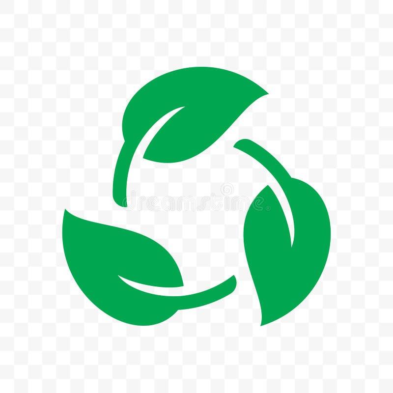 Biologisch afbreekbaar rekupereerbaar plastic vrij pakketpictogram Vector bio rekupereerbaar chemisch afbreekbaar etiketembleem royalty-vrije illustratie