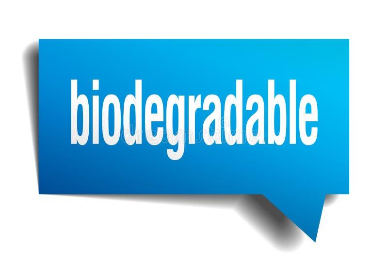 Biologisch afbreekbare blauwe 3d toespraakbel vector illustratie